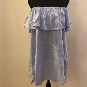 Zara - Blue & White Off the Shoulder Dress